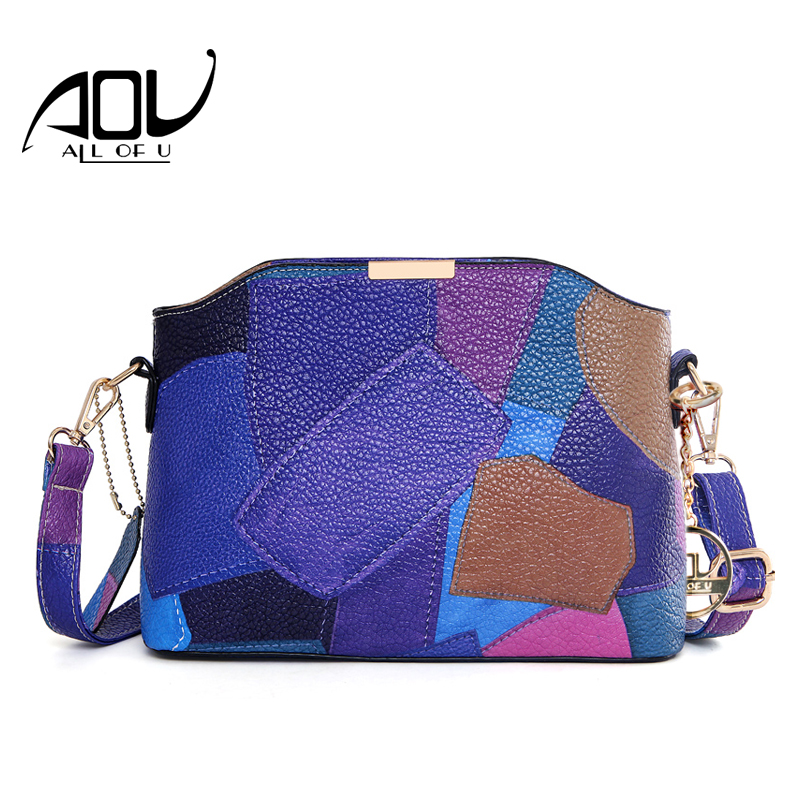 AOU Women Patchwork Handbag Fashion ladies Shoulder Messenger Bags High Quality Leather Designer Party Bags Crossbody Bag Bolsas 2018 brand designer women messenger bags crossbody soft leather shoulder bag high quality fashion women bag luxury handbag l8 53