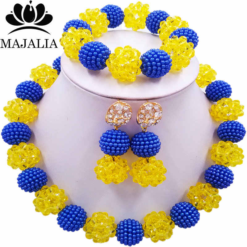 Majalia Fashion Nigeria Wedding African Beads Jewelry Set Yellow Crystal Plastic Pearl Necklace Bridal Jewelry Sets 1ZS043