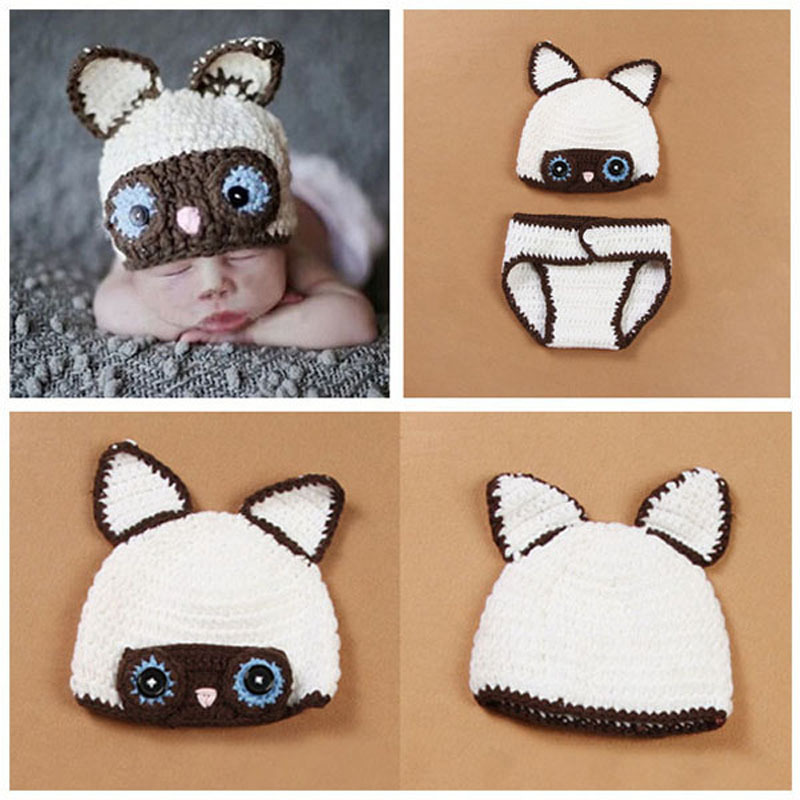 Baby Crochet Owl Beanie Hat with Diaper Cover Newborn Infant Photography Props Toddler Animal Costume Set H100