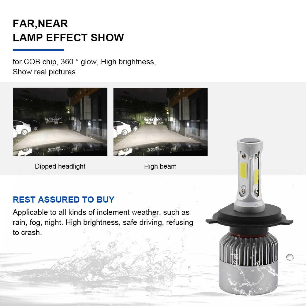 EURS 2PCS S2 Motorcycle headlights H4 H7 led bulbs H11 HB3 9006 COB Car lamp 12V Automobile lights car headlamp H1 6500K 12V