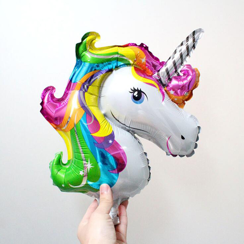 50pcs Mini Rainbow Unicorn Foil Balloons Air-filled Ballon for Kids Birthday Party Suppl ...