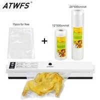 ATWFS sellador de vacío de embalaje de la máquina de sellado de la bolsa de vacío Packer incluir 15 piezas de embalaje bolsas de alimentos de ahorro rollos 20 cm + 12 cm X 500 cm
