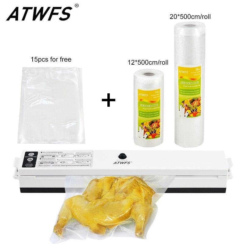 ATWFS Emballage Emballage Sous Vide D'étanchéité Machine À Vide Sac Packer Comprennent 15 pcs Emballage Sacs Food Saver Rouleaux 20 cm + 12 cm X 500 cm