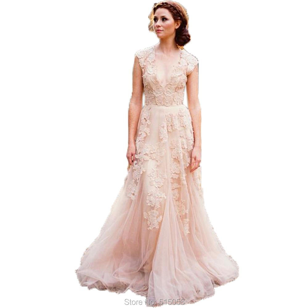 Vintage Lace Cap Sleeves V Neck Tulle Wedding Gowns 2017 Rustic ...