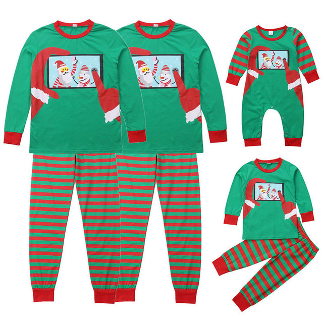 41daf33056 Christmas Outfits Family Matching Kids Baby Dad Mom Pajamas Set Womens Mens  Girls Boys Striped Santa