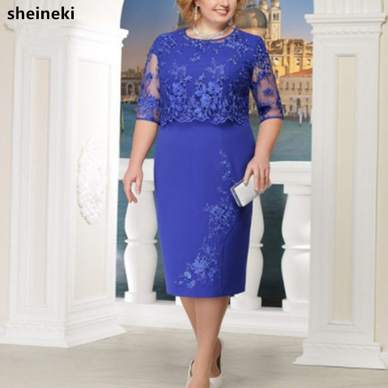 2019 New Scoop Neck Lace Plus Size Mother Of The Bride Dresses Hal Sleeve Patchwork Wedding Guest Party Gowns