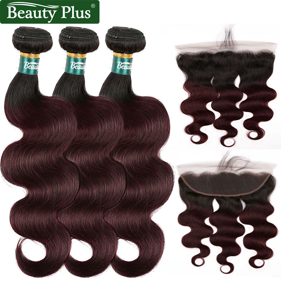 Burgundy Body Wave Bundles With Closure Ear To Ear Lace Frontal Nonremy Human Hair Brazilian 99J Ombre Bundles With 13x4 Frontal