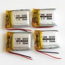 Lot de 4 batteries li-po rechargeables, 3.7V, 300mAh, 802025 Lithium polymère, pour Mp3, bluetooth, GPS, DVD, appareil photo, haut-parleur MP4