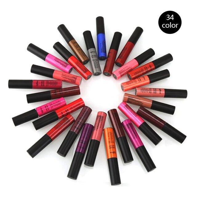 Qibest Brand Lips Beauty Makup Pigment Waterproof Lipgloss Long Lasting Black Velvet Matte Nude Lipstick Red Lip Gloss Lot 3