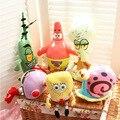 6 pçs/set bob esponja Plush brinquedos infantis dos desenhos animados personagens do filme brinquedos de presente de aniversário de natal Stuffed & Plush animais