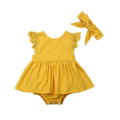 Pudcoco/2019 г. летняя однотонная Милая Одежда для новорожденных девочек повязка на голову, юбка-пачка с рукавами-крылышками, боди, наряд