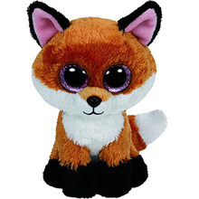 "Pyoopeo Ty Beanie Boos 10"" 25cm Slick Brown Fox Plush Medium Soft Big-eyed Stuffed Animal Collection Doll Toy with Heart Tag(China)"
