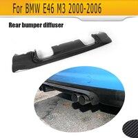 For BMW E46 M3 Only 2000 2006 Rear Bumper Lip Diffuser Spoiler Carbon Fiber Diffuser Splitter Apron Four Style