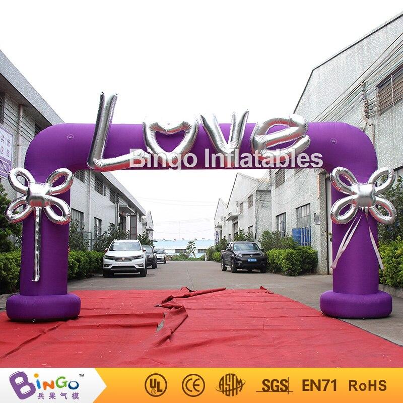 Vendita calda 6X3 m gonfiabile viola arco di nozze con lettere d'amore e fiocco per decorazione di san valentino portable romantico archway