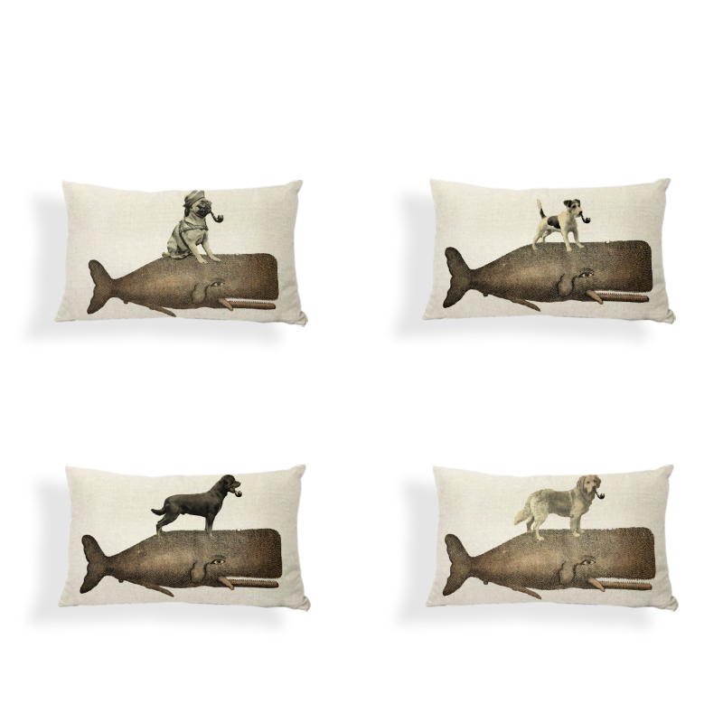 Retro Shabby Chic Shark Pillowcase French Bulldog Samoyed 30x50cm Siberian Husky Dachshund Decor Home Office Lumber Cushion Cove