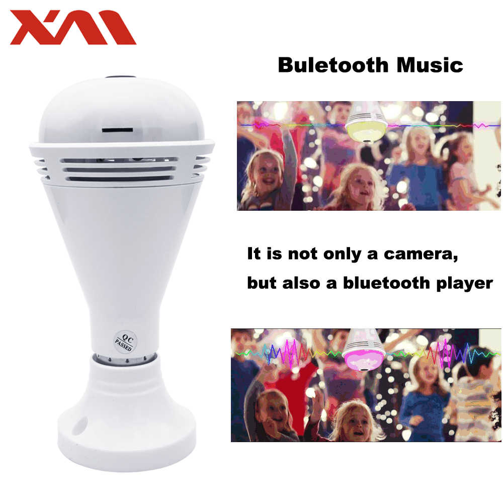New technology wifi lamp camera with bluetooth speaker colorful lighting ip camera wireless bulb 360 degree ip camera home