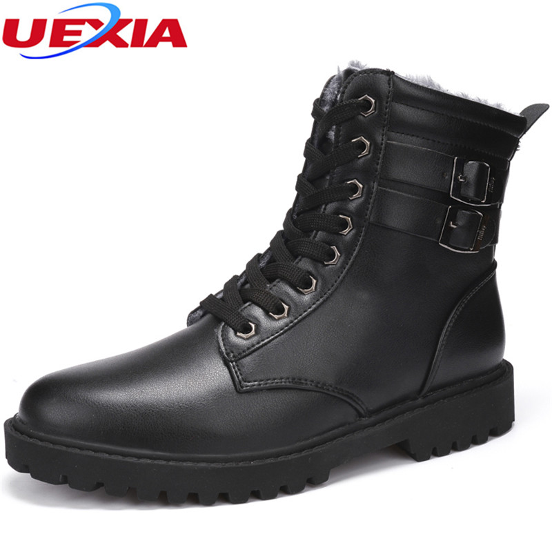 UEXIA Unisex Size 34-44 Winter PU Leather Men Boots lovers High Fashion Fats Ankle Shoes Fur Plush Botas hombre zapatos mujer men ankle boots women casual shoes breathable fashion cushioning soles high top lovers outdoor shoes size 35 44 b2299