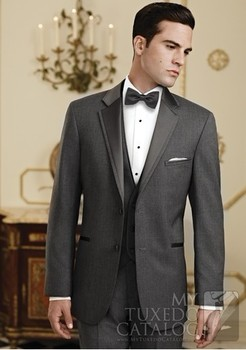 Classic Groom Tuxedo Charcoal Grey Groomsmen Notch Lapel Wedding/Dinner Suits Best Man Bridegroom (Jacket+Pants+Tie+Vest) B261
