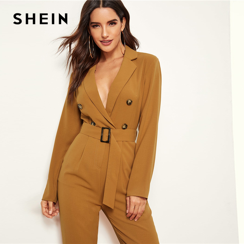SHEIN Ginger Notched Collar Double Button Plunging Belted Blazer Carrot Jumpsuit Women High Waist Office Lady Autumn Jumpsuits