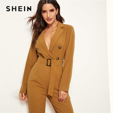 96dad4c9889 SHEIN Ginger Notched Collar Double Button Plunging Belted Blazer Carrot Jumpsuit  Women High Waist Office Lady Autumn Jumpsuits