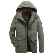 Green 2019 Winter Men Long Cargo Jacket Thick Velvet Thermal