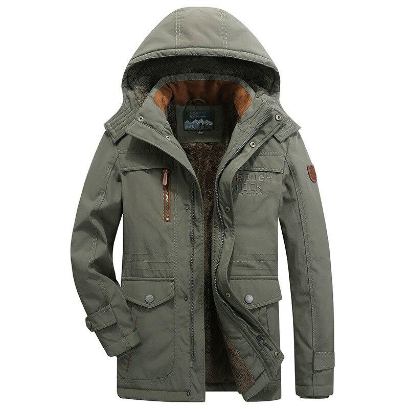 Vert 2019 hiver hommes Long Cargo veste épais velours thermique vers le bas Parkas décontracté chaud rembourré manteaux Plus asiatique taille M-5XL 6XL