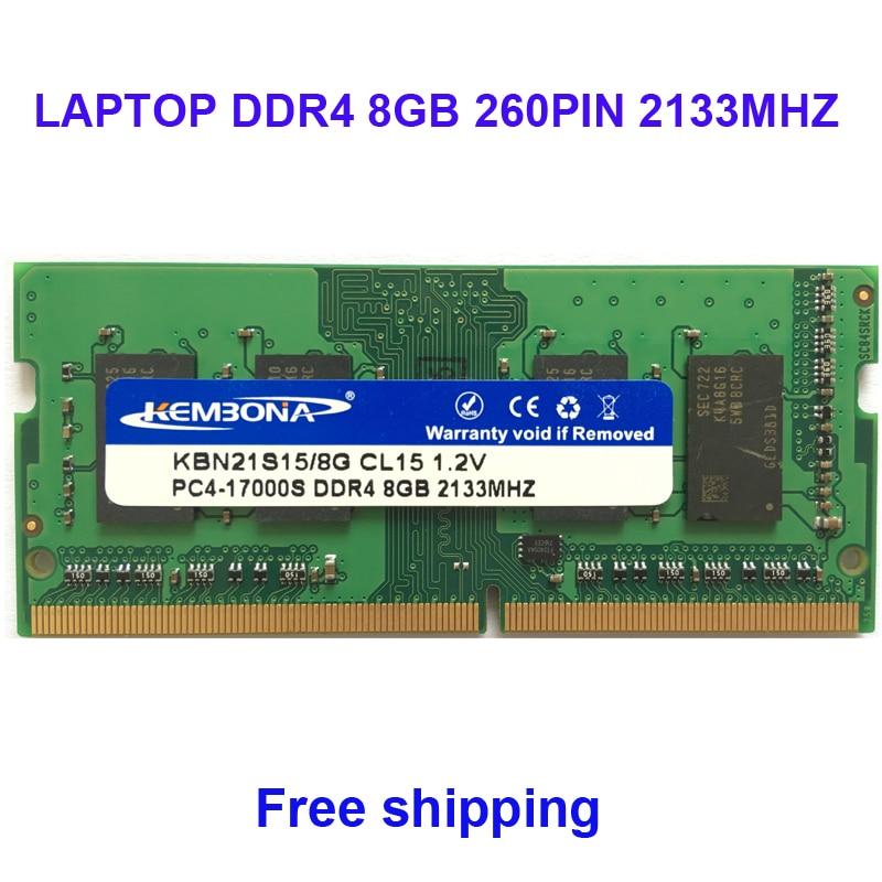 Kembona mémoire sodimm ordinateur portable ddr4 8 gb 8g 2133 mhz pc-17000 ram plein compatible 260pin