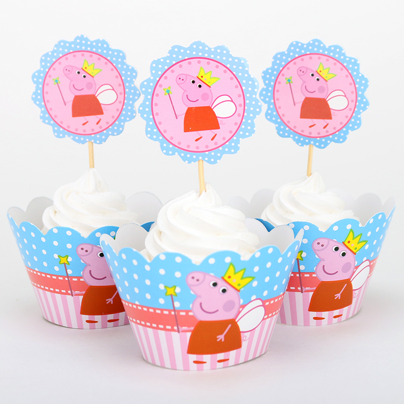 Pepa pig cupcake wrappers toppers picks decoration baby for Baby shower cupcake picks decoration