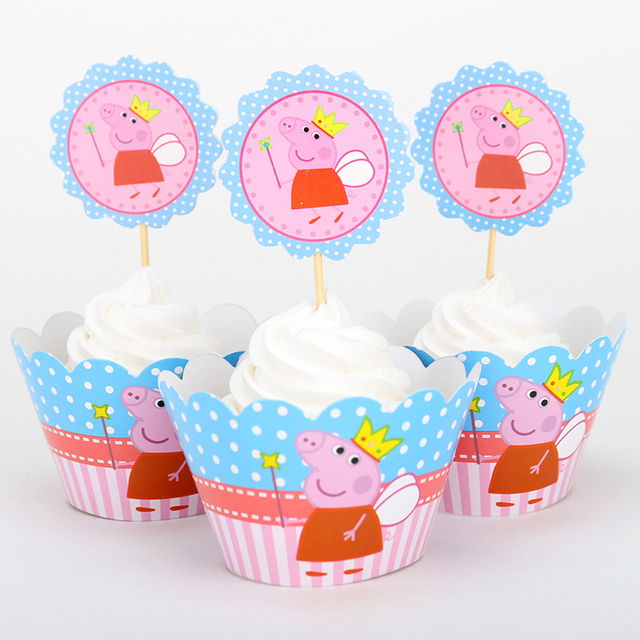 Pepa Pig Cupcake Wrappers & Toppers Picks Decoration Baby Shower Kids Birthday Party Supplies 12set/ lot Wholesale Pink Pig