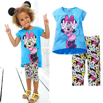 NEW Kids Girls Short Sleeve Min nie T shirt Tops Half Pant 2pcs font b Set