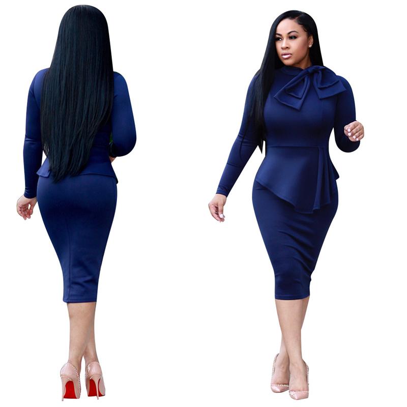 Adogirl 2017 New Stylish Ladies Office Dress Elegant Bow Neck Long ... 325926b9282a