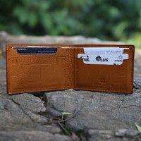 Hiram Beron Free Custom Name Leather Wallet Men Purse Vegetable Tanned Leather Card Holder Men's Wallet Cow Leather Card Wallet