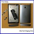 Original para sony xperia p lt22 lt22i habitação tampa da bateria case + botão substituição as chaves em telefonia móvel + logotipo