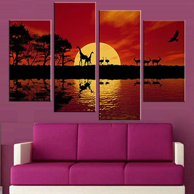 4 pcs set unframed canvas painting africa red tone combined