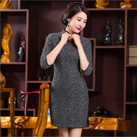 Spring Autumn Winter Woolen Cheongsam Chinese Vestidos Women Dress Tang Suit Qipao Costumes Chinese Traditional Dress