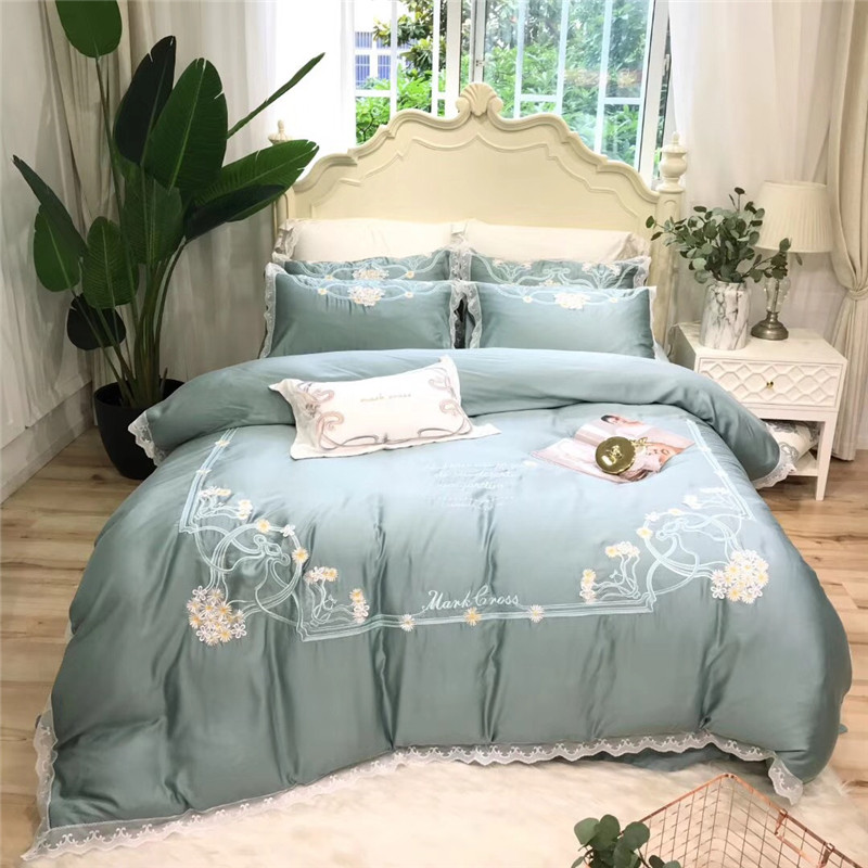 luxury Light green Pink Daisies Embroidery Lace edge 100S Tencel silk Comfortable Bedding Set Duvet Cover Bed sheet Pillowcases