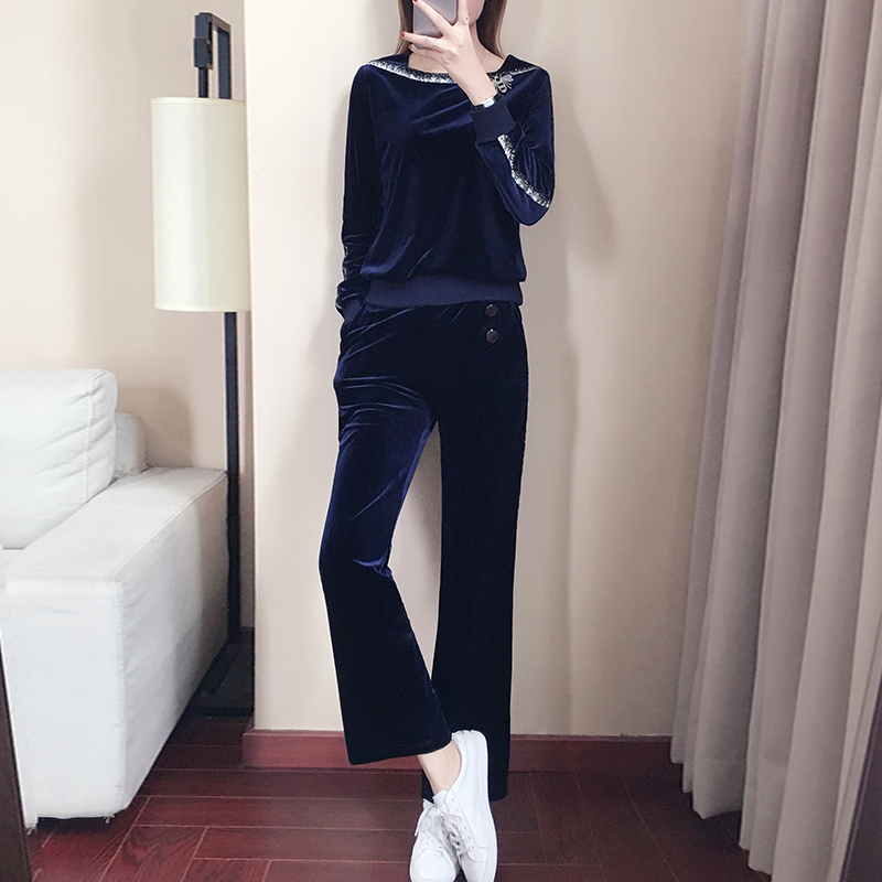 YICIYA tracksuits for women Velvet 2 piece set outfit co ord set plus size big large 5xl 2019 spring winter navy blue clothing in Women 39 s Sets from Women 39 s Clothing
