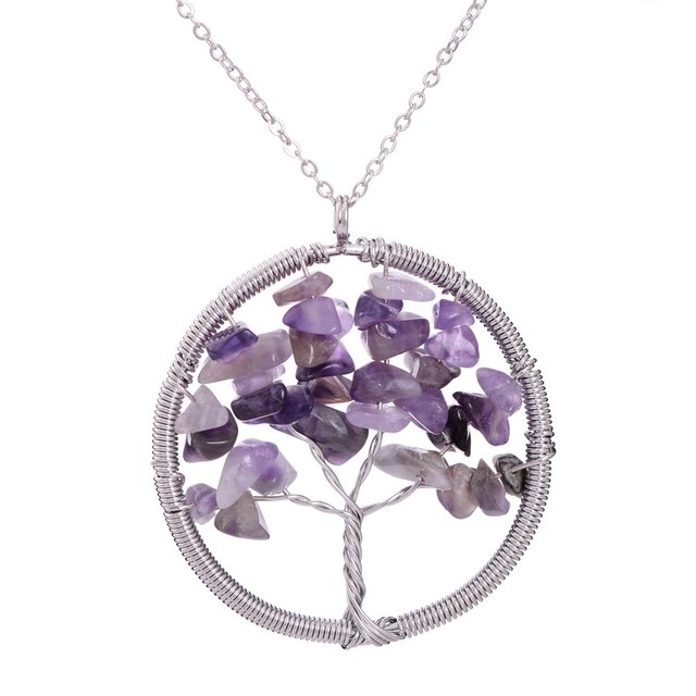 7 Chakra Tree Life Crystal Natural Stone Pendants Necklaces 2