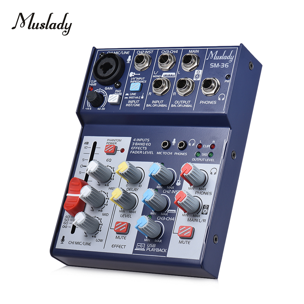 Muslady SM 36 Compact Size 4 Channel Sound Card Mixing Console Digital Audio Mixer Supports 5V