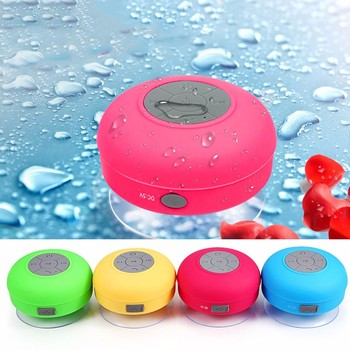 portable mini waterproof bluetooth speaker for showers with hands free calling enabled