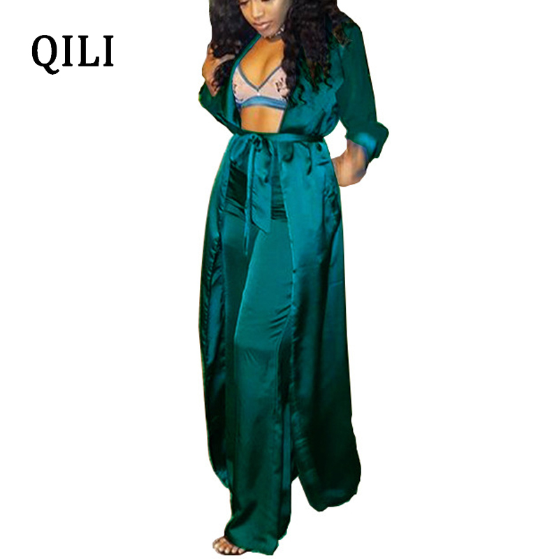 7de3f0d1619 QILI Autumn Winter Women Jumpsuits Long Sleeve With Belted Two Piece Set Casual  Jumpsuit Long Blouse+Pants Fashion Jumpsuits
