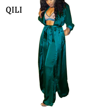 QILI Autumn Winter Women Jumpsuits Long Sleeve With Belted Two Piece Set Casual Jumpsuit Long Blouse+Pants Jumpsuits belted cuff mixed print stepped hem blouse
