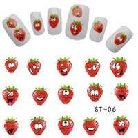 1 stücke Nail art Nette Express Lächelt Erdbeere Obst Designs Decals Nail art Aufkleber Wasserzeichen Tattoos auf tipps nägel TRST-06
