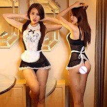 New mulheres sexy lingerie hot lace Francês Da Empregada Doméstica do chapéu + lingerie + t-calça + colar + mão acessórios sexy costume erotic Lingerie 807