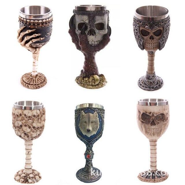 Stainless Steel Double Liner Drinking Skull Mug Resin 3D Skull Tankard Horror Decor Cup Dragon Bone Skull Metal Wine Goblet Cup 1