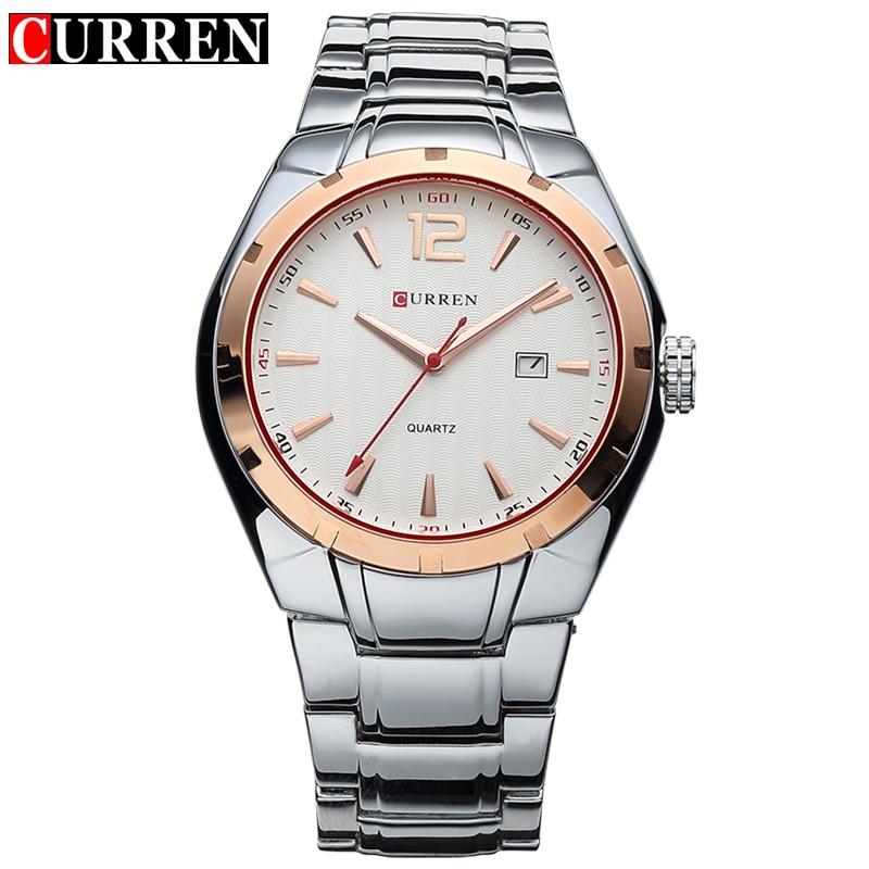 CURREN Luxury Brand Quartz Watch Men Gold Analog Display Date Men's Wristwatch Casual Business relogio masculino 2017