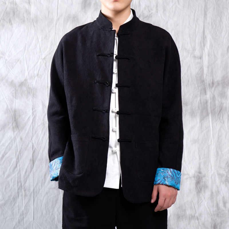 繁体字中国語ジャケット刺繍唐スーツの男性の綿リネンカンフー太極拳マスター服衣装男性 CN-014