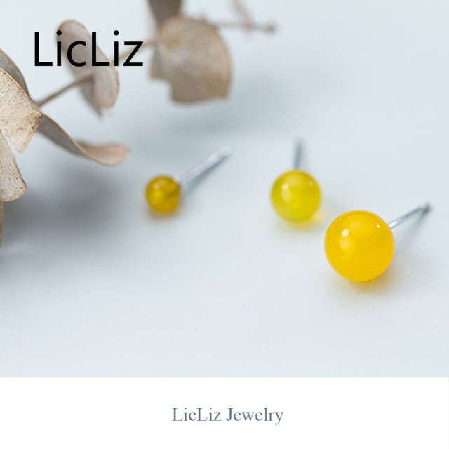 LicLiz 2019 New 925 Sterling Silver Round Yellow Agate Stud Earrings for Women Small Ball Studs Earings Simple Silver Bar LE0497-in Earrings from Jewelry & Accessories on Aliexpress.com | Alibaba Group