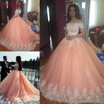 2f1d4435939 De encaje vestidos de Quinceañera de bola vestido hombro tul baile de  Debutante 16 15 dulce 16 vestido