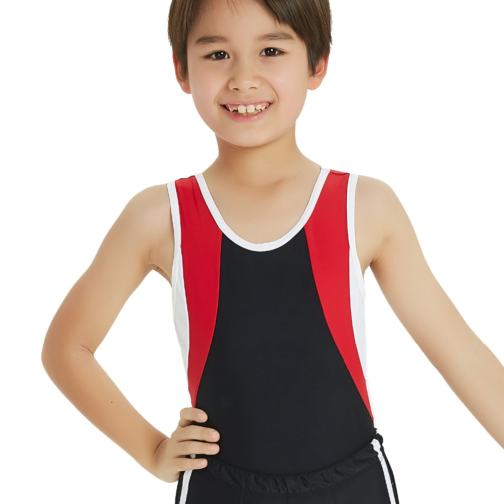 6a19a34c78dc NT17067 Sleeveless Patchwork Boy Gymnastics Leotards